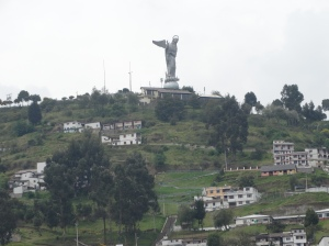 The Mirador de Panecillo statue, which looks down from a hill in Quito.