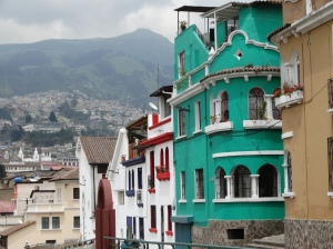 Restored buildings in Quito's historic district