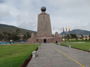 The Mitad del Mundo, or Middle of the World, marker and museum outside of Quito.  The yellow line represents the equator.