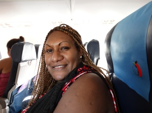 My seat mate on the flight from Cairns to Port Moresby, Angelyn Baker was the first PNG native that I met and a dynamo