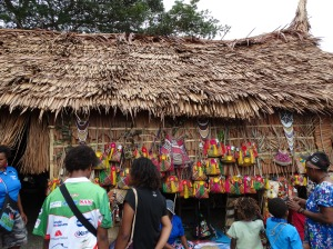 One of many traditional houses from the Pacific Islands built for the two week festival. Artisans traveled great distances to participate in the festival, which occurs every four years