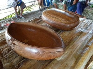 Wooden bowls carved from a wide variety of exotic hardwoods
