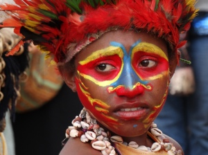 A young girl, getting ready to dance at the festival