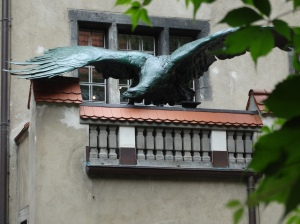 Another soaring eagle, this one in the courtyard of the Maerkisches Museum in Berlin