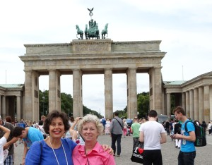 In front of the Brandenburger Tor, or Brandenburg Gate, with my oldest and best friend, Nancy Talbot