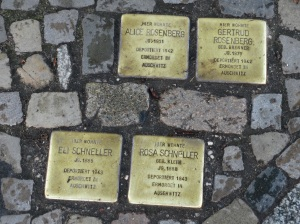 Brass plaques commemorating the lives of Jews exterminated during the Nazi era