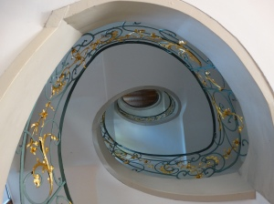 A restored Jugendstil stairway in the Hackesche Hoefe area of the former East Berlin