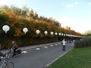 Some of the 8,000 balloons that the city of Berlin has erected along a 15 kilometer of what had once been the Wall.