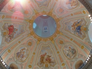 The dome of the Frauenkirche.  The restoration started in 1994 and was finished in 2005.